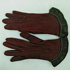 Vtg Quality Usa Two-Tone Brown Ribbed Flare Frill Women Dress Evening Gloves 5.5
