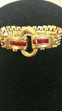 gorgeous runway style gold color chain Vtg givenchy bracelet ruby rhinestones