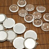 10sets Antique Silver Clear Domed Glass Cabochon with Alloy Settings Charms 25mm