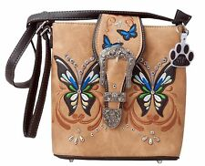 Western Butterfly Buckle Concealed Carry Crossbody Handbag Shoulder Purse (Tan)