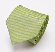 New $225 BORRELLI NAPOLI 7-Fold Silk Tie Lime Green Woven Twill Stripe