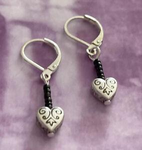 "Brighton MADEMOISELLE Hearts Scrollwork Black Beads Custom Silver Earrings 1.5"""