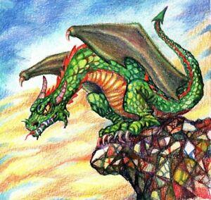 """Akimova: DRAGON, watercolor and colored pencils, 7""""x 7"""""""