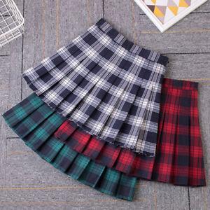 Femmes Fille Carreaux Tartan Plissé Mini Jupe Ecosse Écossais Kilt Patineuse