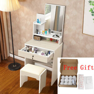 Small Dressing Table With Mirror & Drawer Dresser Bedroom Makeup Desk with Stool