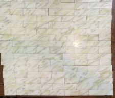 """66 Plus 6""""x1.5"""" Aetco Antique Fireplace Hearth Ceramic Tiles Yellow Sage Green"""