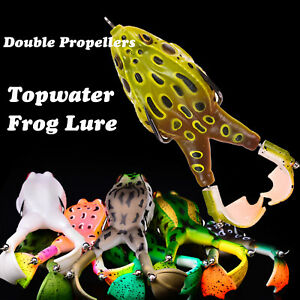 Fishing Lures Realistic Design Prop Frog Topwater Frog Lure Double Propellers