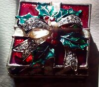 "Vintage ""CHRISTMAS GIFT"" Pewter Trinket Box - 1.5"" X 1.5"""