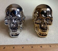 "SET OF 2 GOLD/SILVER PLATED 3 1/4"" HUMAN SKULL FIGURES"