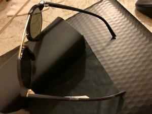 Banana Republic Irving Men's Browline Pilot Sunglasses  Black/Gold New with Case