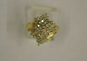 Lady's Diamond Cluster Engagement Ring Solid 14K Yellow Gold Finish 0.51Ct