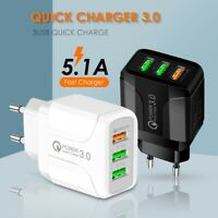 AU_ 5.1A QC3.0 FAST CHARGING 3 USB PORTS WALL ADAPTER CHARGER FOR IPHONE SAMSUNG