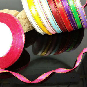 25 Yards Satin Ribbon Wedding Party Gift Gold Ribbons Craft Wrapping Package