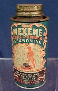 Vintage Mexene Chili Powder Tin Devil Image Blue Color Walkers Austex Austin TX