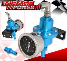 For Scion Adjustable Fuel Pressure Regulator 0-140 Psi Boost Kit Blue W/ Gauge