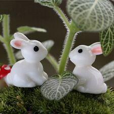 4Pcs Miniature White Rabbits Fairy Garden Animal Ornament Terrarium Supplies
