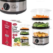 3 Tier Layer Stainless Steel Electric Food Steamer 400w Rice Bowl 6 Ltr, Timer