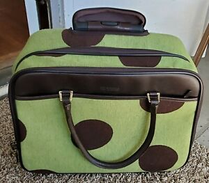 Hartmann Luxe Polka-Dot Wheeling Carry-On Duffle/Briefcase/Luggage Green & Brown