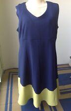 Fit & flare 18W dress Plus size curvy color block Julian Taylor NWT navy green