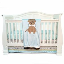 Puppy Pal BABY BEDDING SET (3pc) - light blue, brown, dog, bone