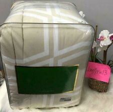 New! Kate Spade Beige Tan White Bow Tile Full Queen Size 3 Pc Comforter Set