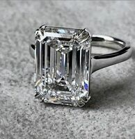 4.60Ct White Emerald Cut Diamond 14k White Gold Superb Engagement Ring Certified