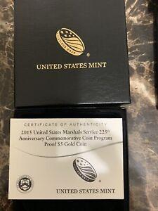 2015-W US MARSHALS PROOF $5 GOLD COIN w/ BOX & COA - U.S. MINT OGP