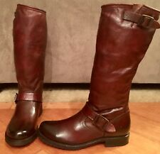 NEW WOMEN FRYE VERONICA SLOUCH COGNAC BROWN LEATHER TALL BOOTS 8