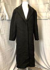 Vintage Full Length Nicole Miller Black Wool Alpaca Trench Coat Duster Size 10