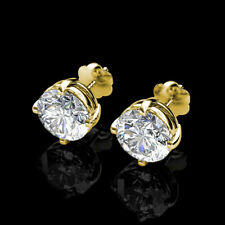 1Ct Brilliant Round Created Diamond Screw Back Stud Earrings 14K Yellow Gold