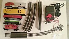 Train Set HO Scale COMPLETE Loco, Caboose, 3 cars, track, power pack USED Tested