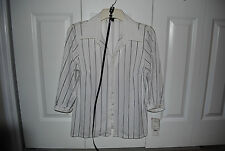 Element Ladies Top Blouse Size Large White w/ Black Stripes with Belt