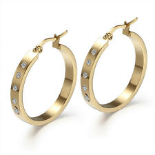 One Pair Women's Halo Rhinestones Gold Titanium Steel Ear Round Hoop Earrings