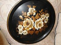 ANTIQUE BLACK LARGE TOLE HAND PAINTED TRAY FLOWERS VINTAGE PLATTER TOLEWARE