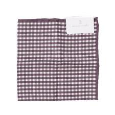 NWT $185 BRUNELLO CUCINELLI Reversible Check Print Cotton-Linen Pocket Square