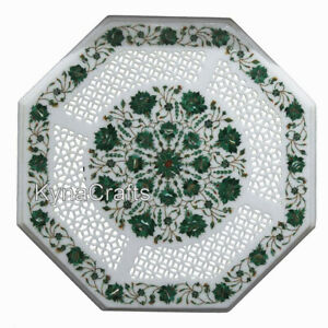 30 Inches Marble Inlay Coffee Table Top Mosaic Art Dining Table Top for Patio