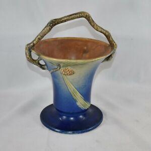 Vintage and Estate Fresh Roseville Pottery Pine Cone Blue Basket 338-10