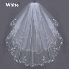 New 2T Embroidery Pearls Beaded Edge Bridal Wedding Elbow Veil W/ Comb White US