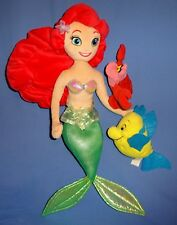 "Disney Plush Little Mermaid Ariel doll 20""Flounder 4"" Sebastian 5"" bean bags LOT"