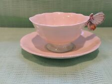 BEAUTIFUL VINTAGE PARAGON BUTTERFLY HANDLE CUP AND SAUCER! CREAM/MINT SWEET!