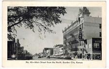 Garden City Kansas Main Street - Cars Hotel Windsor - to Fayettville AR 1956
