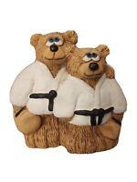"Father & Son Black Belt Karate Bear Resin Figurine  4.5"" Artist Signed Sheila..."