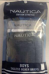 NAUTICA Boys Youth Cotton Stretch Boxer Briefs Underwear 3 Pair Small (6-7)