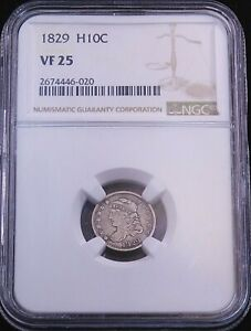 1829 Capped Bust Silver Half Dime NGC VF25 Nice Luster #GE306