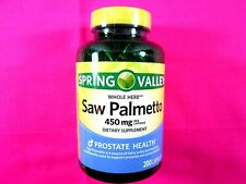 Saw Palmetto Whole Herb Dietary Supplement 200 Capsules 450 MG Per Capsule