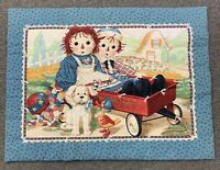Vintage Raggedy Ann and Andy Express Wagon w/ Puppy and Duck Blanket 44 X 33 In.