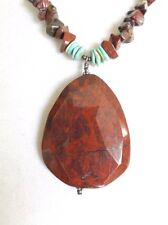 Tumbled Turquoise/Red Agate Necklace w/ Faceted Red Agate Pendant