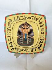 Egyptian Porcelain Plate Handmade Tan Gold Blue King Tut Mask Square 8""