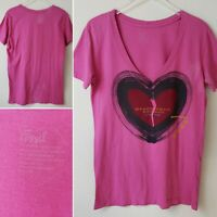 Fossil Shirt T-Shirt Tee Top Heart Heartbreak Records Austin Texas Pink Small