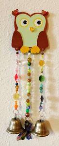 Cute OWL WindChimes~ Chandelier Crystals, Brass Bells, BUTTERFLY